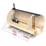 3,6 meter - Tønde sauna 6 pers. m. terrasse